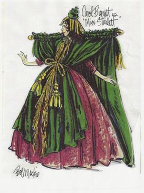 "Carol Burnett as ""Miss Starlett"" in a costume sketch by Bob Mackie"