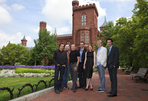 From left, cast members Ben Stiller, Ricky Gervais, Robin Williams, Hank Azaria, Amy Adams, Owen Wilson and director Shawn Levy