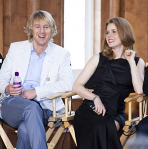 "Actors Owen Wilson and Amy Adams at the press conference May 15 promoting ""Night at the Museum: Battle of the Smithsonian."" (Photo by Ken Rahaim)"