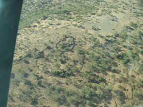 This aerial view shows the boma, or corral, that protects the familiy's animals from predators at night. (Photo by Wayne Clough)