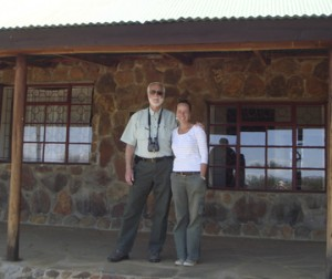 Wayne Clough and Margaret Kinnaird in front of the main building at the Mpala Research Centre. The building was constructed with a grant from the Smithsonian Women's Committee. (Photo courtesy of Wayne Clough)
