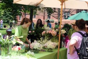 Rebecca Henry (left) demonstrates the art of floral arrangements at Garden Fest 2008. (Photo courtesy of Shelley Gaskins)