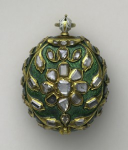 This pocket watch was made in the mid-17th century in Geneva, Switzerland and Istanbul, Turkey. Made of metal, golf, silver, diamonds and enamel, the gift reflects the finest clock-making technology of the day combined with elaborate artistic embellishment. (Photo courtesy of the Moscow Kremlin Museums)