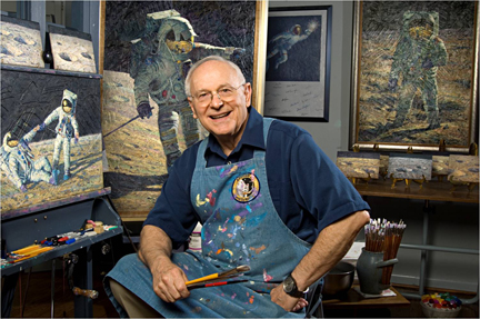 Alan Bean in front of his painting easel at his art studio in Houston, October 14, 2008. (Photo by Carolyn Russo)