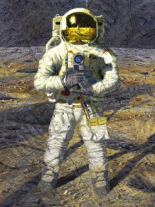 "The painting ""First Men--Neil Armstrong"" shows how Neil Armstrong would have looked (since there are no photos) while taking the iconic photo of his lunar companion, Buzz Aldrin. (Image courtesy of Alan Bean)"