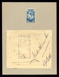 To help support Richard Byrd's second expedition to Antarctica, President Roosevelt approved a stamp as partial payment for mail to the special post office in Little America. After rejecting four designs, FDR sketched a map with routes of Byrd's expeditions.