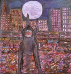 """Moon and Dog""  (1995), acrylic on canvas, by David Koloane (born 1938, South Africa.) (Photo by Franko Khoury)"