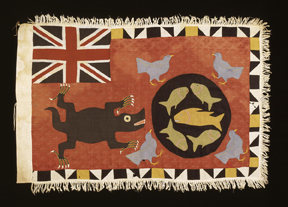 """This Afaso flag by Kweku Kkanu (born ca. 1910) of the Fante peoples of Ghana is among the objects on display in """"Artful Animals"""" at the African Art Museum. (Photo by Franko Khoury)"""