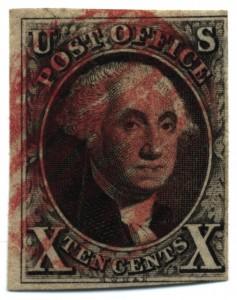 Ten-cent George Washington stamp, 1847