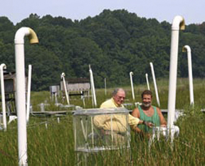 Bert Drake, left, and Engineer Gary Peresta at the CO2 field site in Maryland where Drake has been collecting data for 20 years.