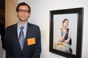 """Adam Vinson with """"Dressy Bessy Takes a Nap,"""" winner of third prize. (Photo by Warren Perry)"""
