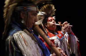 Members of the Kevin Locke Native Dance Ensemble in performance