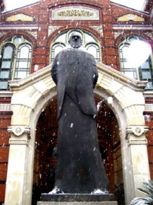 Baird's statue might appreciate a little protection from the elements. Bronze can get mighty cold in winter.
