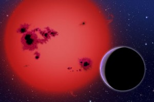 This artist's conception shows the newly discovered super-Earth GJ 1214b, which orbits a red dwarf star 40 light-years from our Earth. It was discovered by the MEarth project - a small fleet of ground-based telescopes no larger than those many amateur astronomers have in their backyards. (Image by David Aguilar)