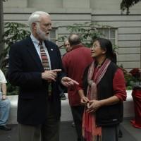 Secretary Wayne Clough and Faridah Dahlan, research technician in Natural History's Department of Entomology.