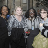 From left, Catherine Harris, director of the Office of Research Training and Sevices; Pamela Hudson Veenbaas, program manager for ORTS; Diana N'Diaye, curator/folklore specialist for the Center for Folklife and Cultural Heritage; and Anne Carty, research assistant.