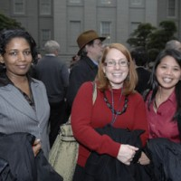 From left, Shemsa Mohamedi, Lindsay Powers, Hang Nguyen, accountants in the Office of the Comptroller.