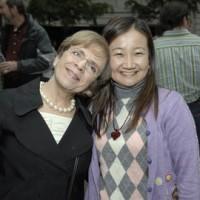 Ann Rossilli, exhibition designer, and Program Assistant Noriko Sanefuji from American History.