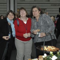 From left, Marisa Bourgoin, archivist at AAA; Ellen Simmons, American Indian Museum registration; and Denise Wamaling, SAAM registration.