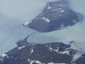 An aerial shot of a glacier en route to the South Pole.