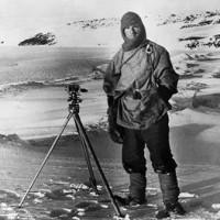 Capt. Robert Falcon Scott, R.N., prepares to make a scientific measurement on his 1911-1912 Antarctic expedition. (Corbis photo)