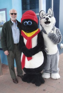 Wayne Clough (left) and some friends from the education center at the International Antarctic Centre in Christchurch.
