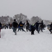 snowball fight on the mall