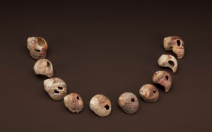 Part of an ancient necklace, these 30,000-year-old shells from Cro-Magnon, France  represent some of the earliest evidence of humans wearing jewelry. Some shells have traces of ocher, a clue they were colored with pigment. (Photo by Chip Clark)