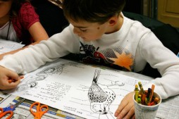 Class begins with a bird-anatomy coloring project. (Photo by Kirsten Bauer)