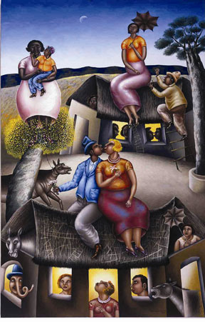 """Summer's Dream/Sueno de verano"" by Maximino Javier (b. 1950), 2002, oil on canvas/oleo sobre tela, Collection of Galeria Quetzalli."
