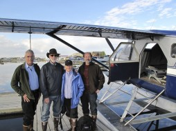 From left, Bill Fitzhugh, Wayne Clough, Anne Clough and Aron Crowell prepare to depart for Northwestern Fjord.