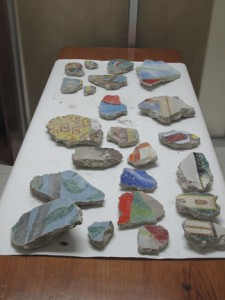 Pieces of the damaged murals (Photo by Wayne Clough)