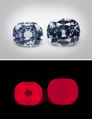 The Wittelsbach-Graff diamond (31.06 ct, left) and the Hope diamond (45.52 ct, right) apparently were not cut from the same crystal, even though they share several similarities, such as strong red phosphorescence (bottom). (Photos by Chip Clark)