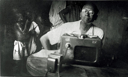Lorenzo Dow Turner recording informants in Africa. (Photo courtesy Lorenzo Dow Turner Papers, Anacostia Community Museum Archives)