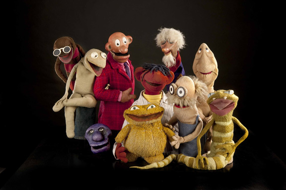"""The Muppet characters from """"Sam and Friends,"""" including the original Kermit the Frog ((second from left.) (Photo by Richard Strauss)"""