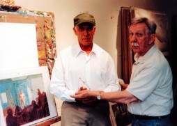 American painters Paul Wonner and Bill Brown in Wonner's San Francisco studio in 2002.