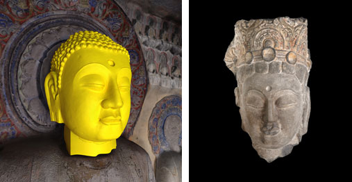 Left: 3-D digital reconstruction with missing fragment in yellow, image by Jason Salavon and Travis Saul. Right: Head of a Bodhisattva, courtesy of University of Pennsylvania Museum of Archaeology and Anthropology.