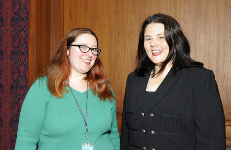 Diary Project Coordinator Dena Adams and Managing Editor Anna Karvellas at a reception celebrating the launch of the William Steinway Diary Web site and opening of the related exhibition. (Photo by Harold Dorwin)