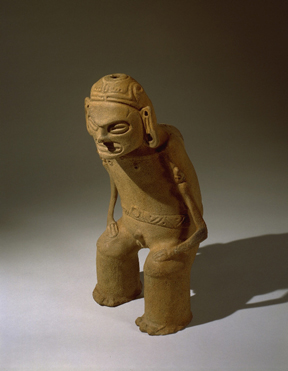 This clay zemi, or Taíno religious object, depicts the important deity Deminan Caracaracol. Made between 1200-1492 AD, this figurine was ritually deposited in a small cave in what is now the Dominican Republic, until it was collected in 1916. Courtesy of the National Museum of the American Indian.