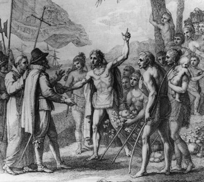 An engraving depicting an encounter between Christopher Columbus and natives of Cuba. (Image courtesy Hutton Archives/Getty Images)