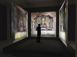 An artist's rendering of the 3D digitally reconstructed north, east and south altars of the South Cave in Northern Xiangtanshan. (Image by Jason Salavon and Travis Saul)