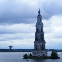 Kalyazin on the Volga river. The area was flooded to create the canal system as the belfry of this 1654 church attests.1654 church