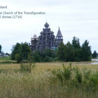 Kizhi Island, a UNESCO World Heritage site; wooden Church of the Transfiguration with 22 domes (1714)