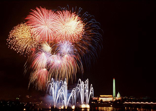 Smithsonian photographer Nicholas Parrella captured this spectacular series of bursts with the US Capitol, Washington Monument and Lincoln Memorial all in the background, These fireworks were part of the Clinton Presidential Inaugural events, 1993, Smithsonian Photographic Services.