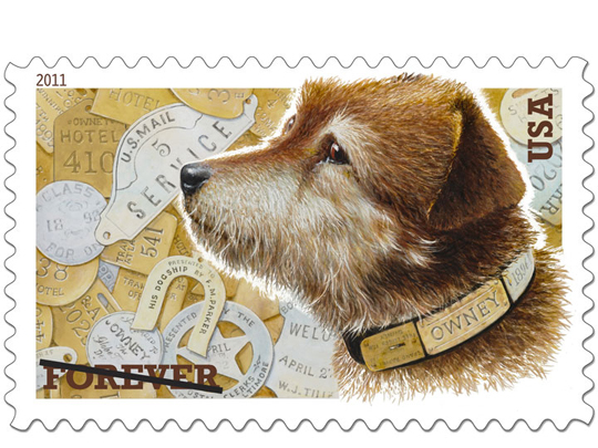 Owney's furry profile highlights his stamp.