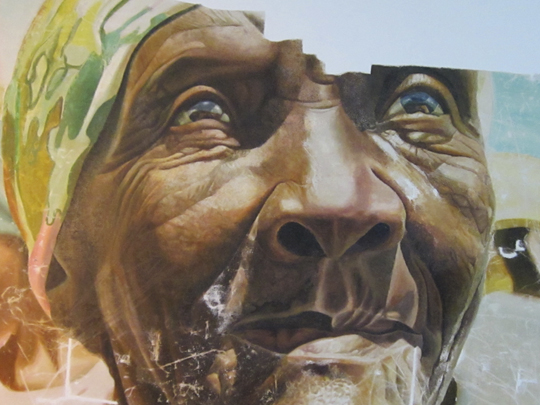 Detail of the Mario Benjamin painting during inpainting and restoration. (Photo by Jean-Menard Derenoncourt)