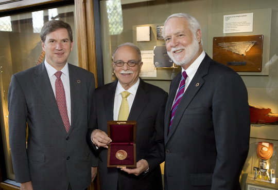 From left, Dr. Cristían Samper (Director, National Museum of Natural History); Dr. Ira Rubinoff (Director Emeritus, Smithsonian Tropical Research Institute) and Dr. G. Wayne Clough (The Secretary of the Smithsonian Institution). Photo by Hugh Talman.