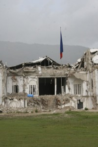 Haiti's Presidential Palace, destroyed by the 2010 earthquake, remains in ruins. (Photo by Ken Solomon)