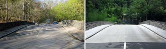 Left: Stone bridge in National Zoological Park before resurfacing and masonry repair, completed at right.