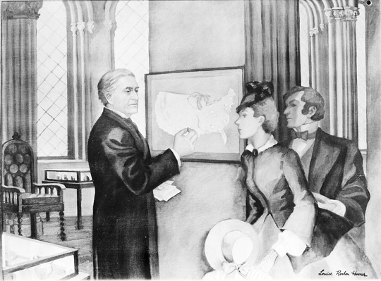 """This image is of a painting by Louise Rochon Hoover, titled, """"Professor Henry Posts Daily Weather Map in Smithsonian Institution Building, 1858."""" Joseph Henry, the first Smithsonian Secretary, is depicted showing visitors the weather map displayed in the Smithsonian Institution Building and updated every day. 1933. Smithsonian Instititution Archives, Image ID# 84-2074."""